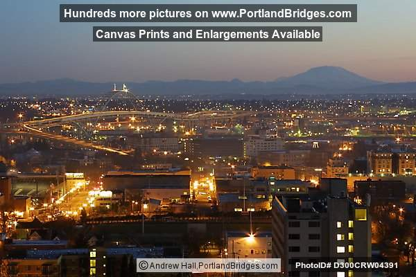 Fremont Bridge and Mt. St. Helens, Daybreak (Portland, Oregon)