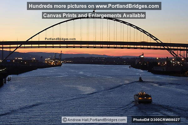 Fremont Bridge, Dusk, Orange Sky, Boat Passing (Portland, Oregon)