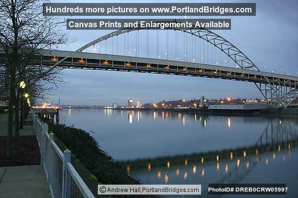 Fremont Bridge, Reflection in Willamette River, Dusk