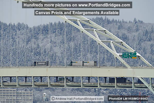 Fremont Bridge, East Side, Snow Behind (Portland, Oregon)
