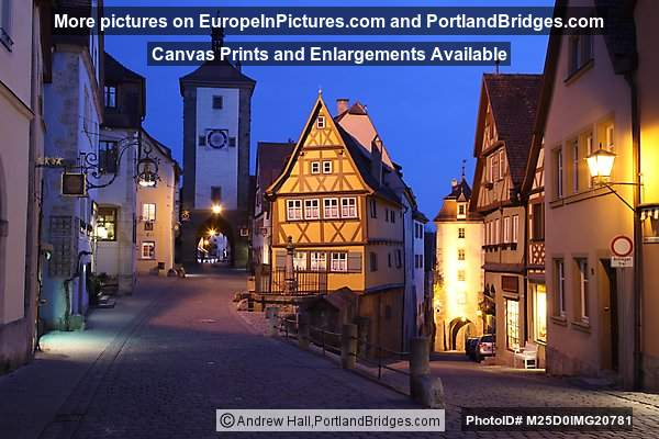 Plönlein, Rothenburg ob der Tauber, Germany, Dusk