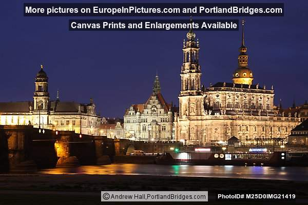 Dresden, Augustus Bridge, Dusk