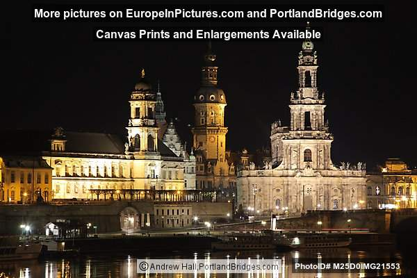 Dresden, Germany, Buildings at Night