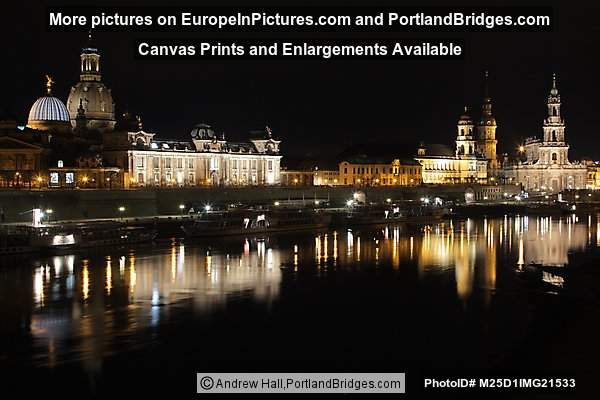 Dresden Cityscape, Reflections, Night