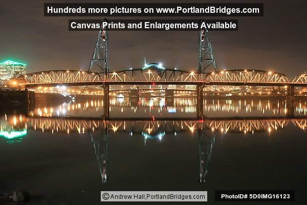 Hawthorne Bridge, Night, Reflection (Portland, Oregon)