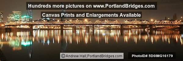 Hawthorne Bridge, Night, Panoramic (Portland, Oregon)