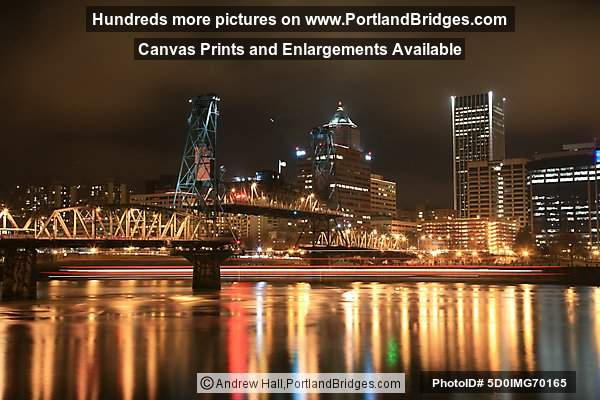 Portland Spirit Light Streak Under Hawthorne Bridge, Long Exposure