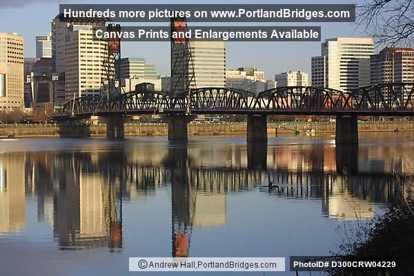 Hawthorne Bridge, Water Reflection, Daytime (Portland, Oregon)
