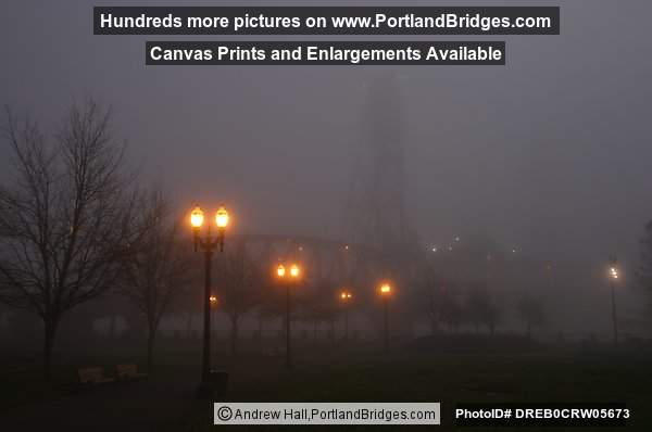 Hawthorne Bridge, Daybreak, Foggy (Portland, Oregon)