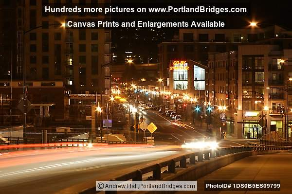 pearl district from broadway bridge night light streaks portland