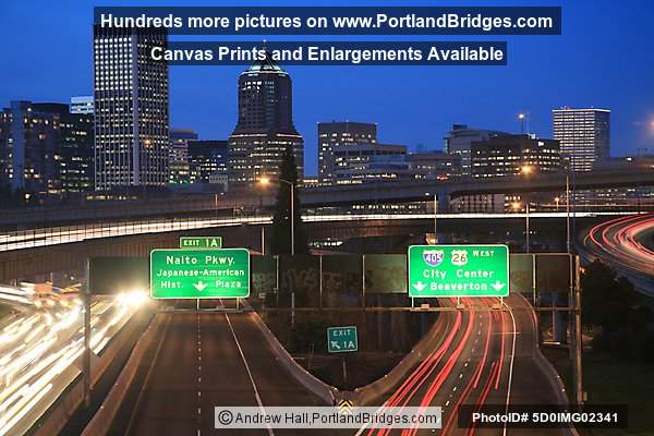 Freeway Car Lights, Portland Buildings, Dusk