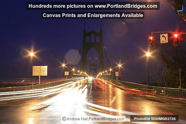 St. Johns Bridge, Dusk, Car Lights (Portland, Oregon)