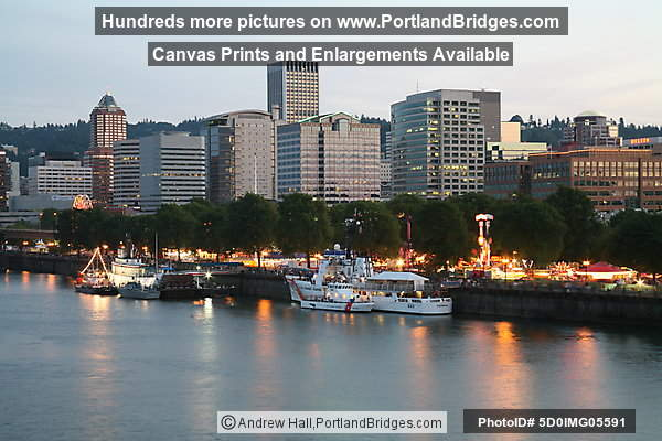 Rose Festival Rides, Willamette River, Dusk (Portland, Oregon)