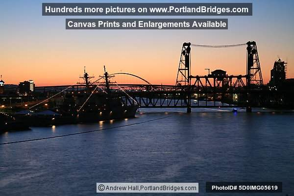 Rose Festival Ships, Steel Bridge, Willamette River, Dusk (Portland, Oregon)