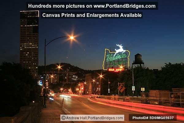 Made in Oregon Sign, Dusk (Portland, Oregon)
