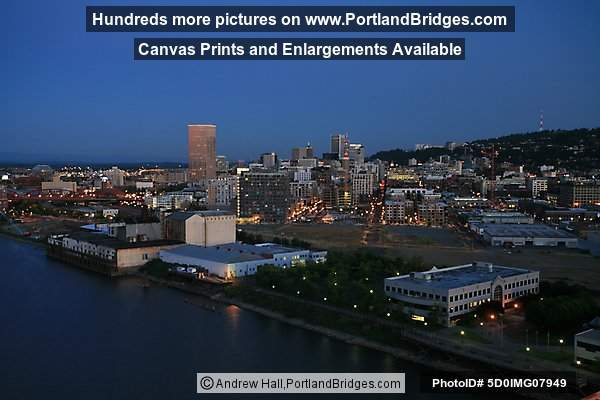 Portland Pearl District from the River, Dusk