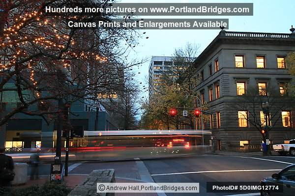 Portland Bus Mall (5th Ave), Dusk