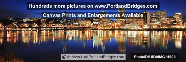 Portland Cityscape, Panoramic, Dusk, Reflections