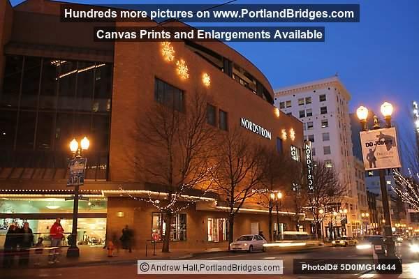 Downtown Portland, Nordstrom, Dusk