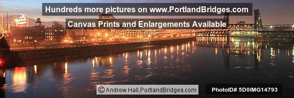 Portland Cityscape, Dusk, Reflections, Steel Bridge
