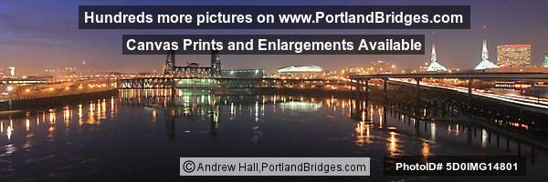 Portland WaterfrPortland Waterfront, Dusk, Reflections, Steel Bridge, Oregon Convention Centeront, Dusk, Reflections, Steel Bridge