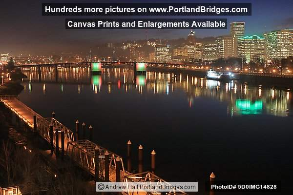 Portland, Oregon Cityscape, Reflections, Morrison Bridge, Lit, Dusk