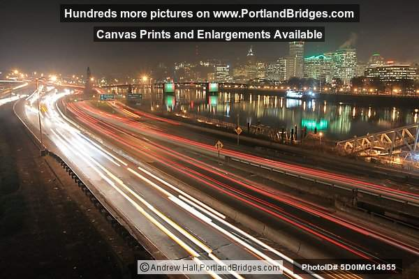 Portland, Oregon Cityscape, Reflections, Morrison Bridge, Freeway LIghts, Dusk