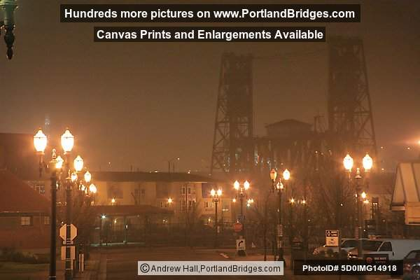 Steel Bridge, Dark, Fog (Portland, Oregon)