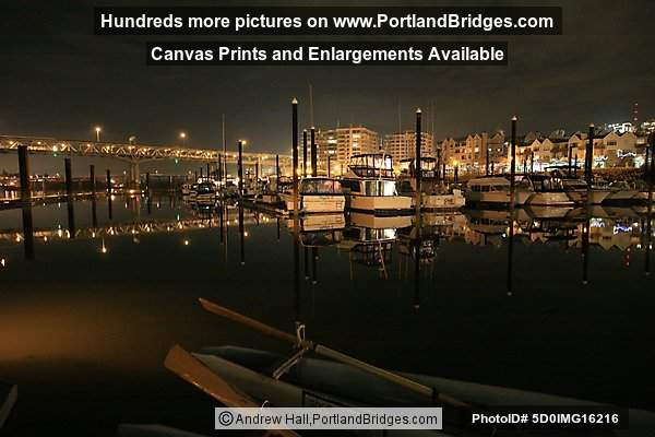 Riverplace Marina, Night, Reflections, Marquam Bridge (Portland, Oregon)