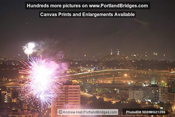 Fremont Bridge and PGE Park Fireworks, July 4th (Portland, Oregon)