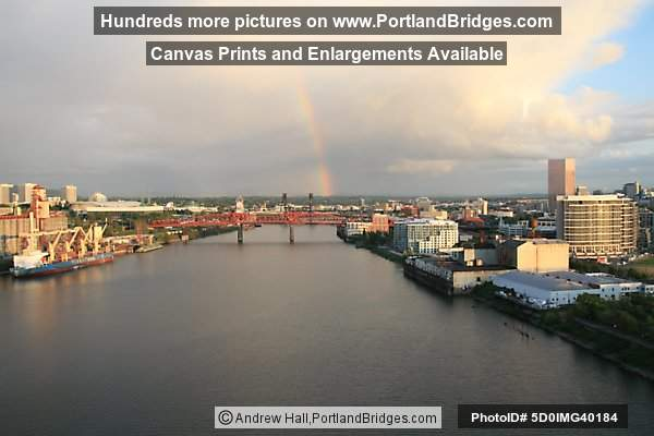 Portland from Fremont Bridge, Pearl District, Rainbow