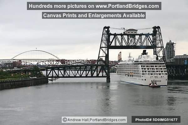 The World, Sailing through Steel Bridge, from Portland, Oregon, June 19, 2009