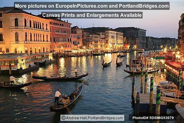 Grand Canal Dusk, Gondolas, Venice, Italy