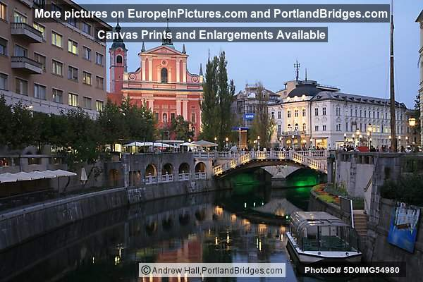 Ljubljana Triple Bridge at Dusk, reflections