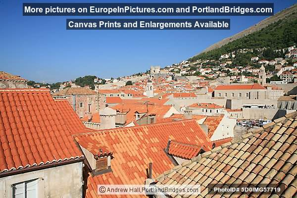 Walking the City Walls, Dubrovnik, Croatia: Orange Roof Tiles, old and new