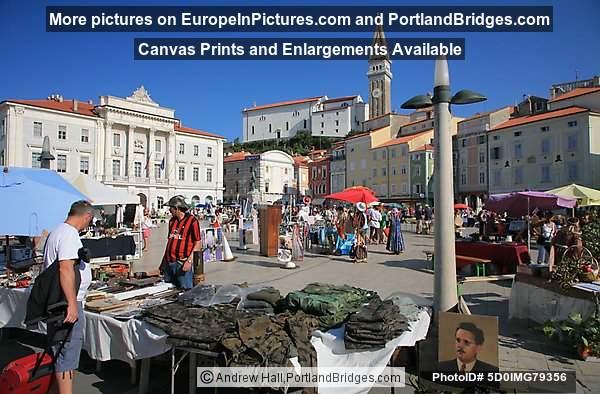 Tartini Square, Market, Young Tito Portrait, Piran, Slovenia