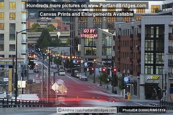 pearl district car lights from broadway bridge portland oregon