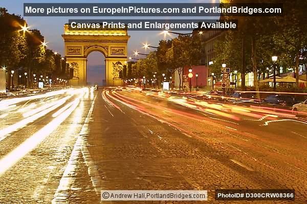 Avenue des Champs-Élysées, Car Light Streaks, Arc de Triomphe, Paris