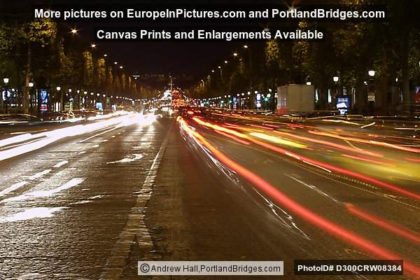 Avenue des Champs-Élysées, Light Streaks at Night, Paris