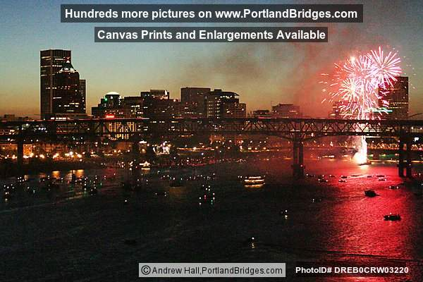 Portland Fireworks, Willamette River, July 4, 2004