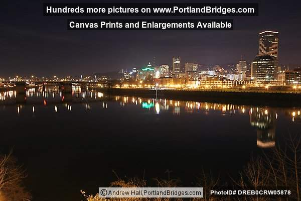 Portland Buildings, Willamette River, Reflections, Dusk