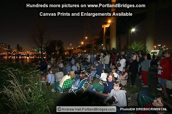 Crowd Watching Fireworks, Willamette River (Portland, Oregon)