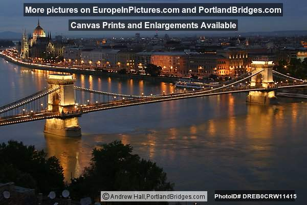 Budapest Chain Bridge, Danube River View, Dusk
