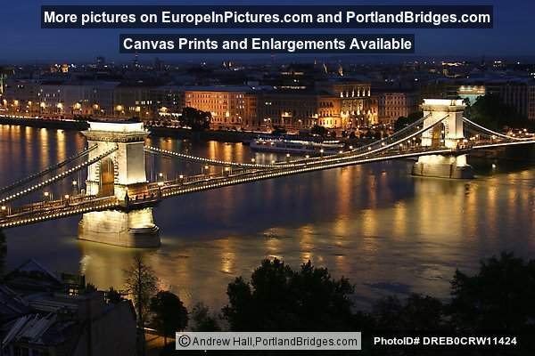 Chain Bridge, Danube River at Dusk, Budapest