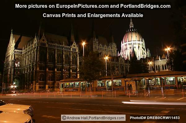 Parliament Building, Tram, At Night, Budapest