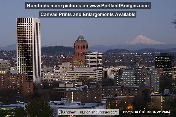 Portland Buildings, Mt. Hood, Dusk