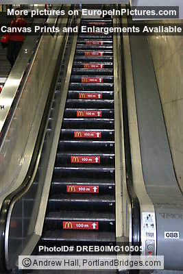 Prague Metro Station, McDonalds Escalator