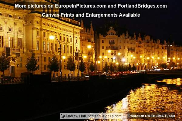 Prague At Night, River