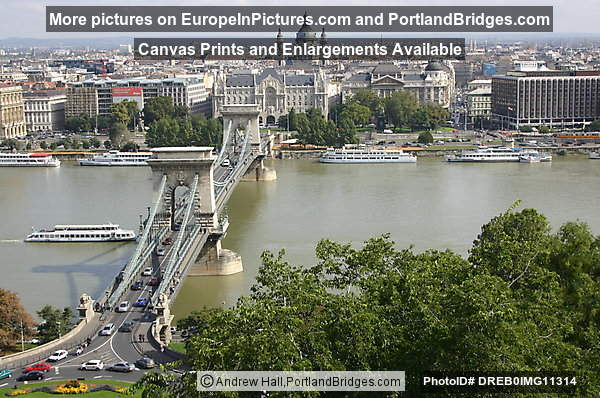 Chain Bridge from Buda hills, Daytime, Budapest