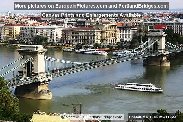 Chain Bridge, Boat, from Viewpoint, Daytime, Budapest